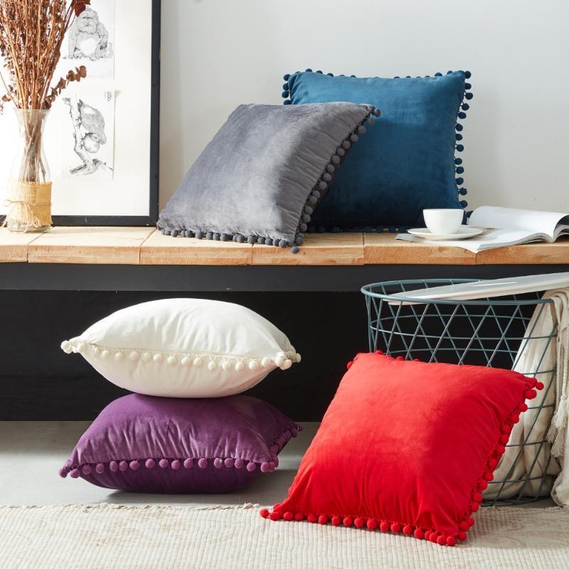 Cubiertas funda de cojín de terciopelo suave almohada inicio decorativo cojines con las bolas para Sofá cama Funda de almohada de coches