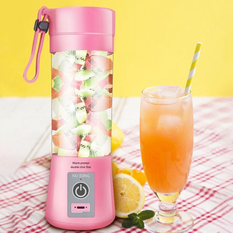 380ml Usb rechargeable Blender Mixer 2 Lames Juicer bouteille de jus d'agrumes citron tasse de légumes Fruit Smoothie SQUEEZERS Alésoirs