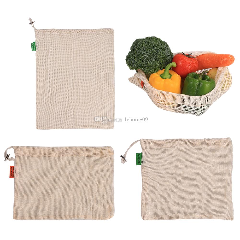 Reusable Cotton Vegetable Bags Home Kitchen Storage Mesh Bags Washable c CA