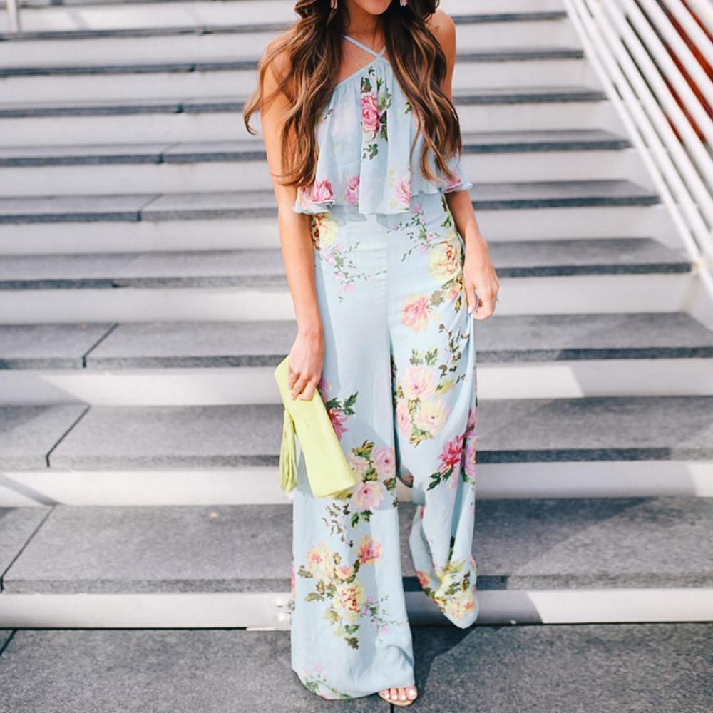 2019 NEW Summer elegant Women Strap Floral Ladies Sleeveless Backless Bohemian wind Jumpsuit Long Wide Leg Trousers 4.9