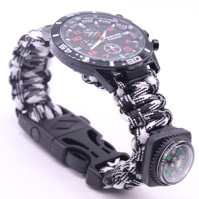 EDC Multi Tools Tactical Camouflage Outdoor survival watch bracelet compass Rescue Rope paracord Camping equipment (23)