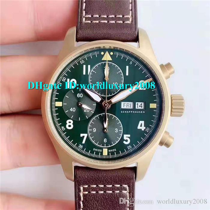 Top Spitfire Chronograph IW387902 Mens Watch AI Bronze Case Green Dial Swiss ETA7750 Automatic Movement 28800vph Crystal Sapphire Designer