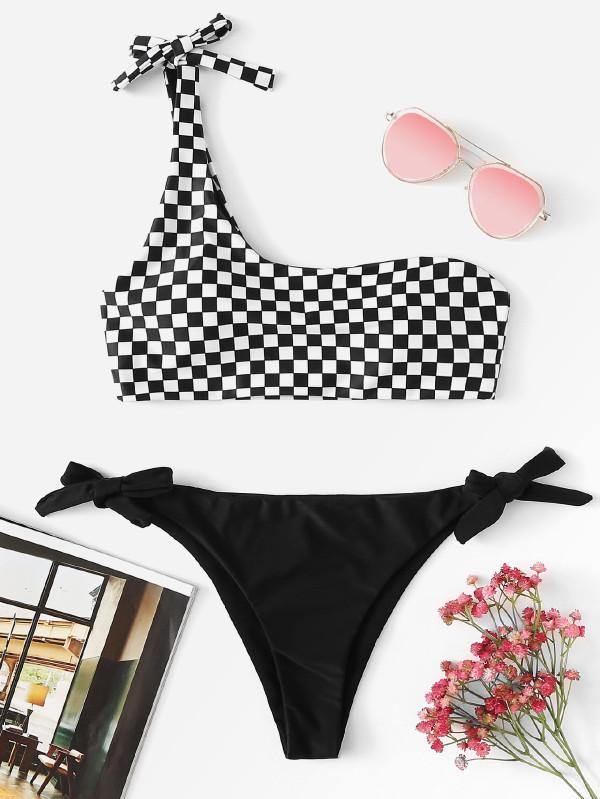 Plaids Checks Bandeau Push Up Bikini Set Schulter Bowknot Bikinis Frauen Sexy Badeanzug Brasilianische Badebekleidung Tanga Badeanzug
