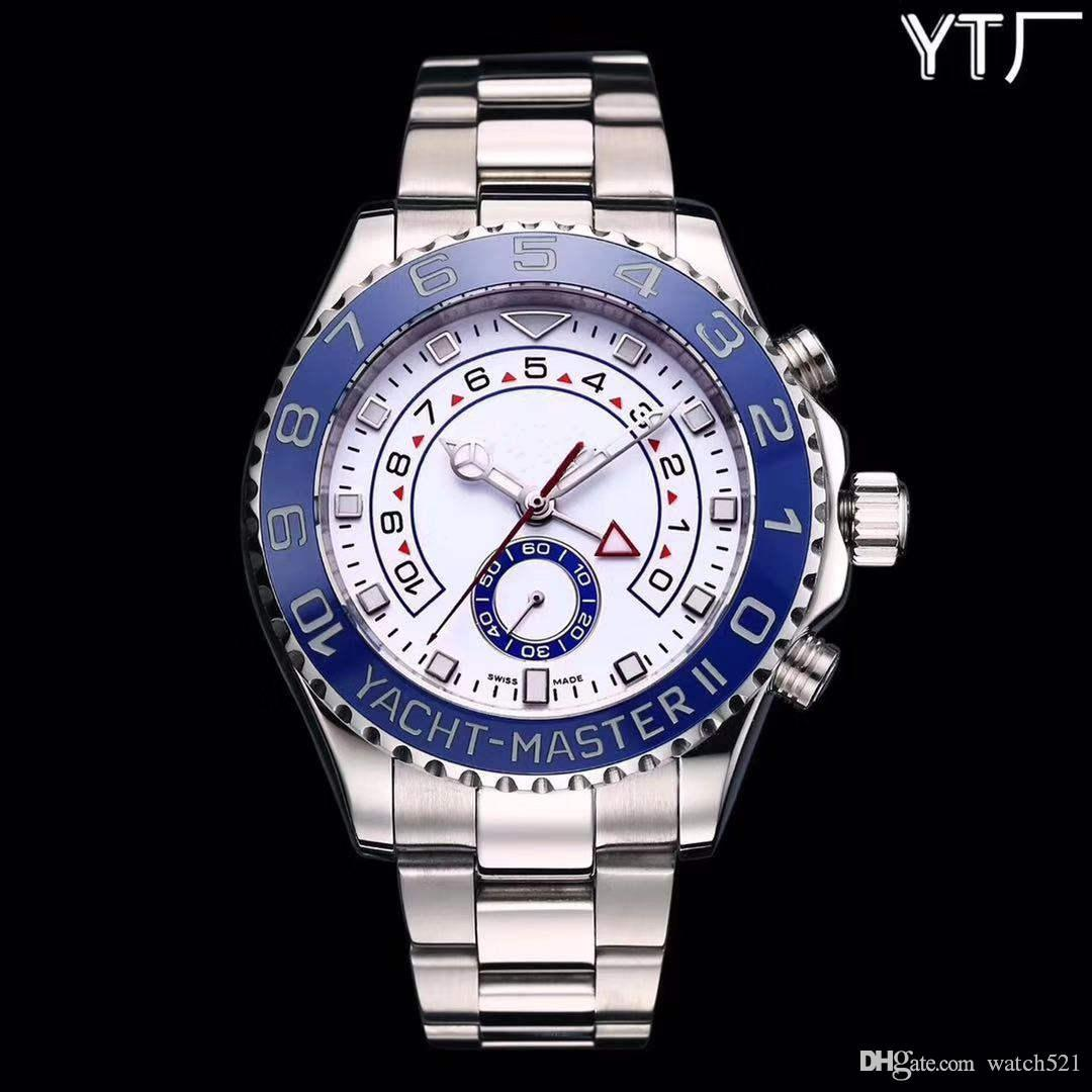 Men luxury 44mm fashion ceramic dial multi-functional automatic mechanical watch, with luminous automatic mechanical watch