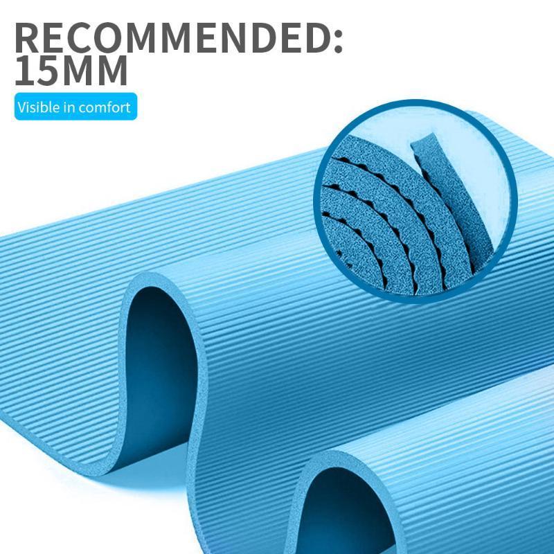 Petit tapis de yoga épais NBR Confort 15MM mousse Tapis de yoga pour l'exercice de Pilates et Anti-Skid Femmes Sport Fitness Mat