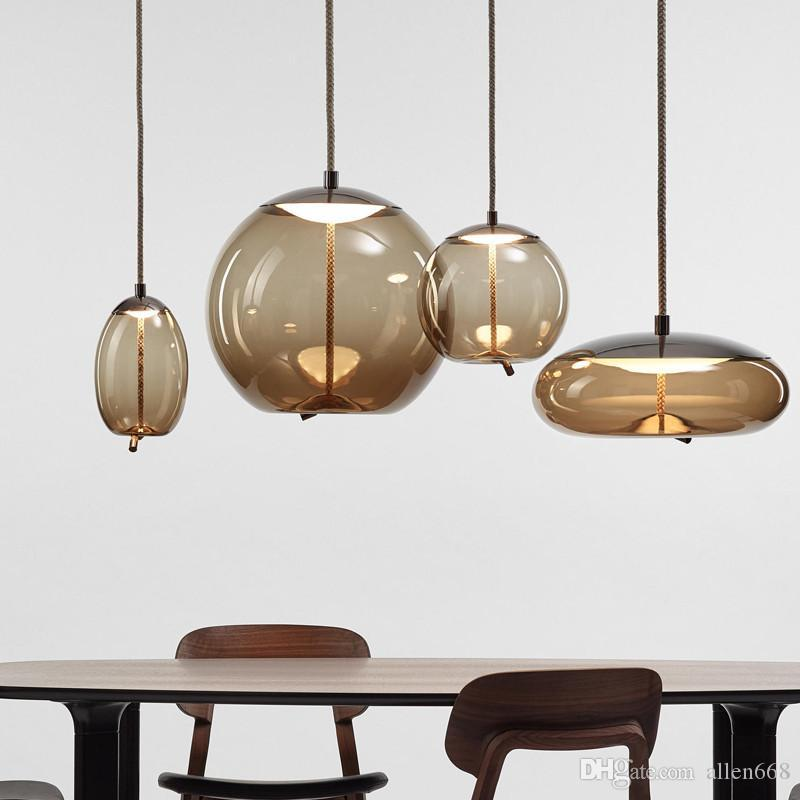 moderrn قلادة زجاج ضوء دراسة القنب حبل تعليق قلادة مصباح العالم جولة hanglamp مصابيح