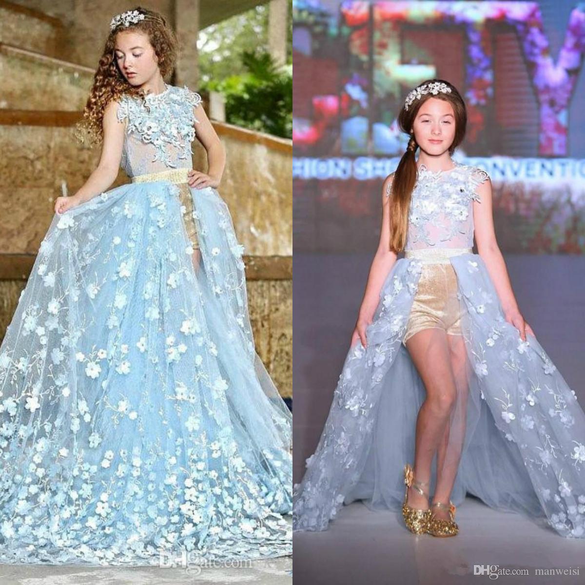 Heißer Verkauf Blau Prinzessin Blume Mädchen Kleider Für Hochzeiten Spitze Kinder Formal Wear Fashion Pageant Outfit Tüll Kleid