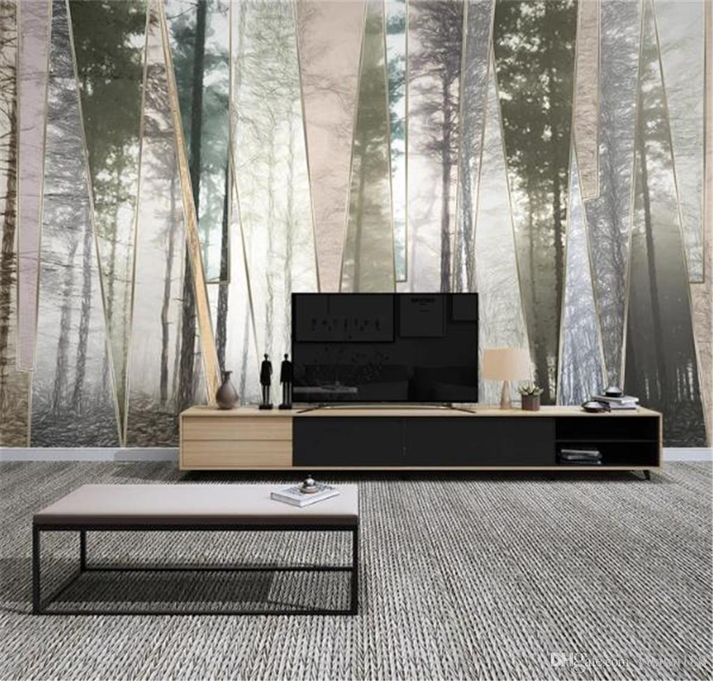 Wallpaper Modern Minimalist Nordic Hand-painted Forest Landscape Geometric Lines Simple TV Background Wall Painting Wall paper