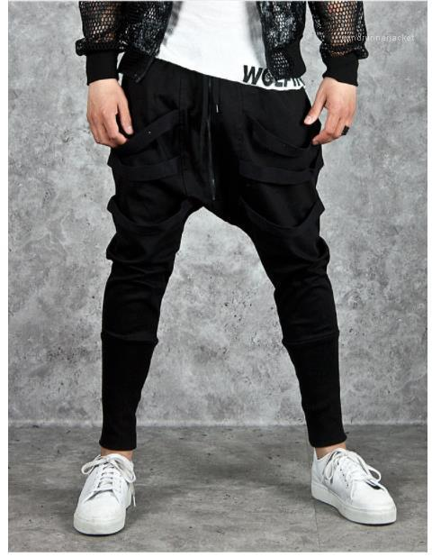 Color Fashion Mens Pants Ribbons Men Designer Pants Street Style Casual Cool Low-grade Zipper Loose Sports Harem Pants Solid