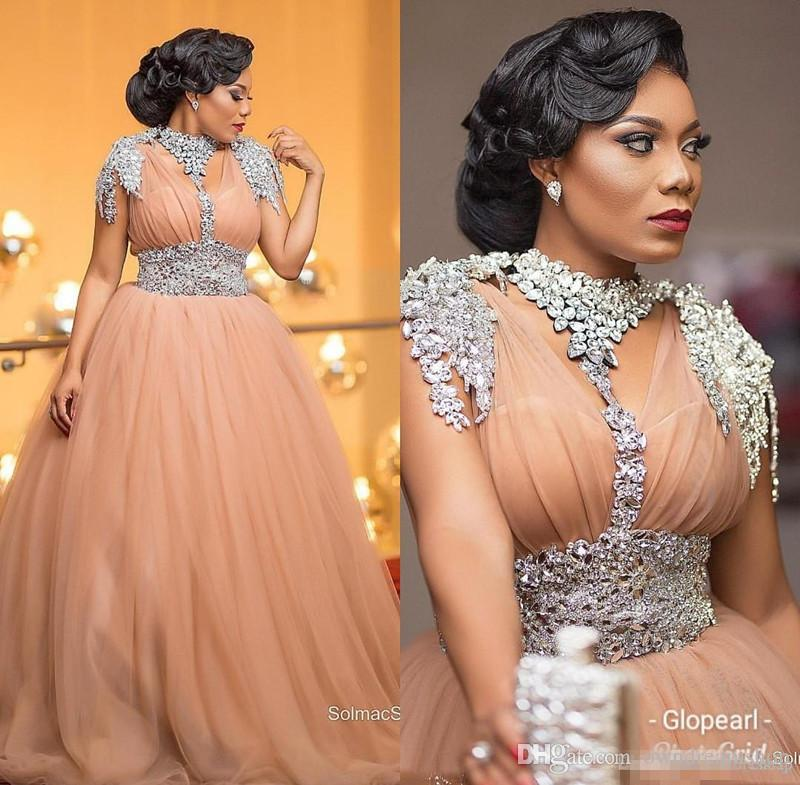Saudi Arabic Orange Tulle Evening Dresses With Crystal Sequins 2019 Short Sleeve Lace Prom Dress Sweep Train Zuhair Murad Formal Party Gowns