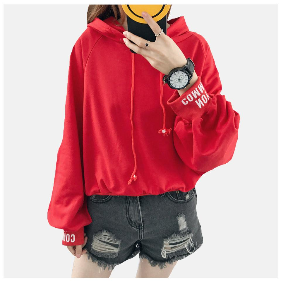 Hoodie coréenne Streetwear lanterne manches Poleron Mujer 2019 Harajuku Xxl Sweat-shirt à capuche rouge Ulzzang cordonnet Oversize femmes