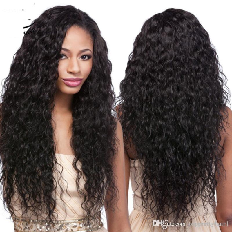Parrucca piena del merletto dei capelli brasiliani ricci con i capelli del bambino lunghi Glueless Pre Pizzicate Parrucche ricci capelli umani anteriori per le donne nere