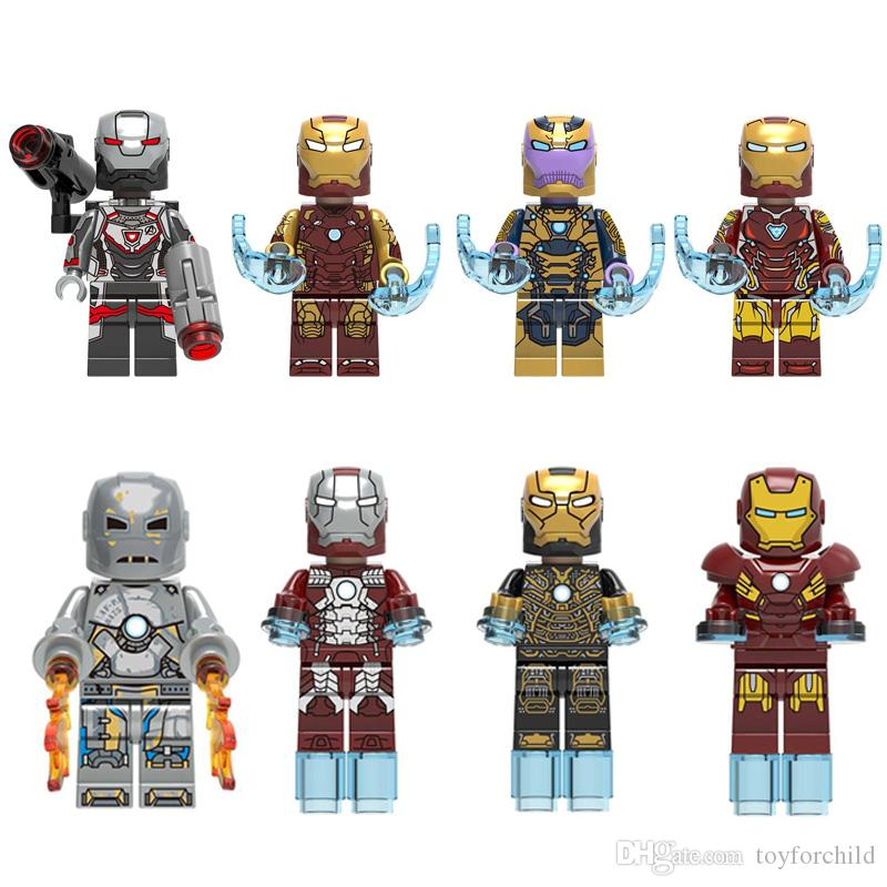 8pcs Avengers Super Hero Iron Man Tony Stark Thanos War Machine Mark 1 5 7 41 46 85 Mini Toy Figure Building Block