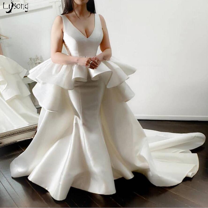 높은 패션 아이보리 웨딩 드레스 사용자 정의 만든 새틴 신부 가운 푹신한 허리 긴 기차 모아지 여성 이벤트 드레스