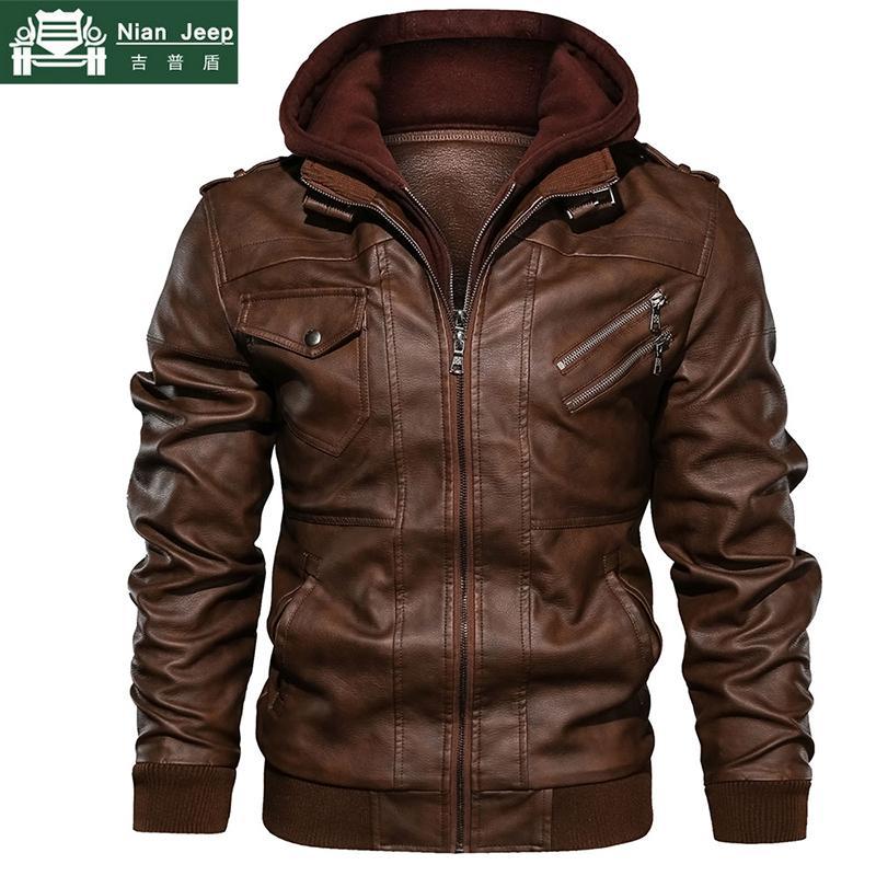 Motos de Inverno New Autumn casaco de cabedal dos homens blusão com capuz PU Jackets Masculino Outwear Quente PU Jackets beisebol Tamanho S-4XL S191019