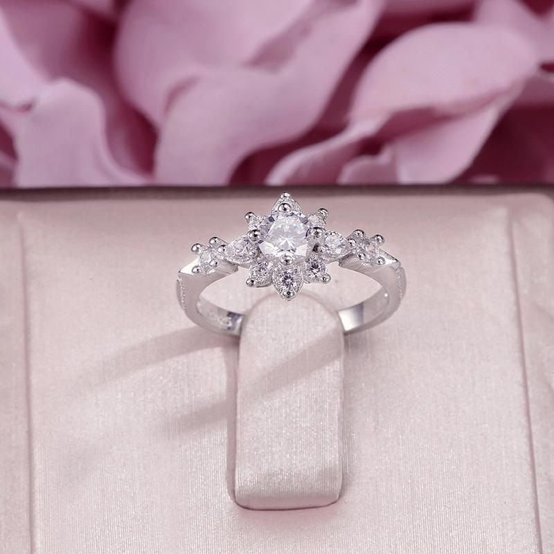Kadınlar Güzel Takı için Halkalar% 100 S925 Gümüş Çiçek Taşlı Beyaz Çift Renkli Yüzük Gelin Düğün Anillos Mujer