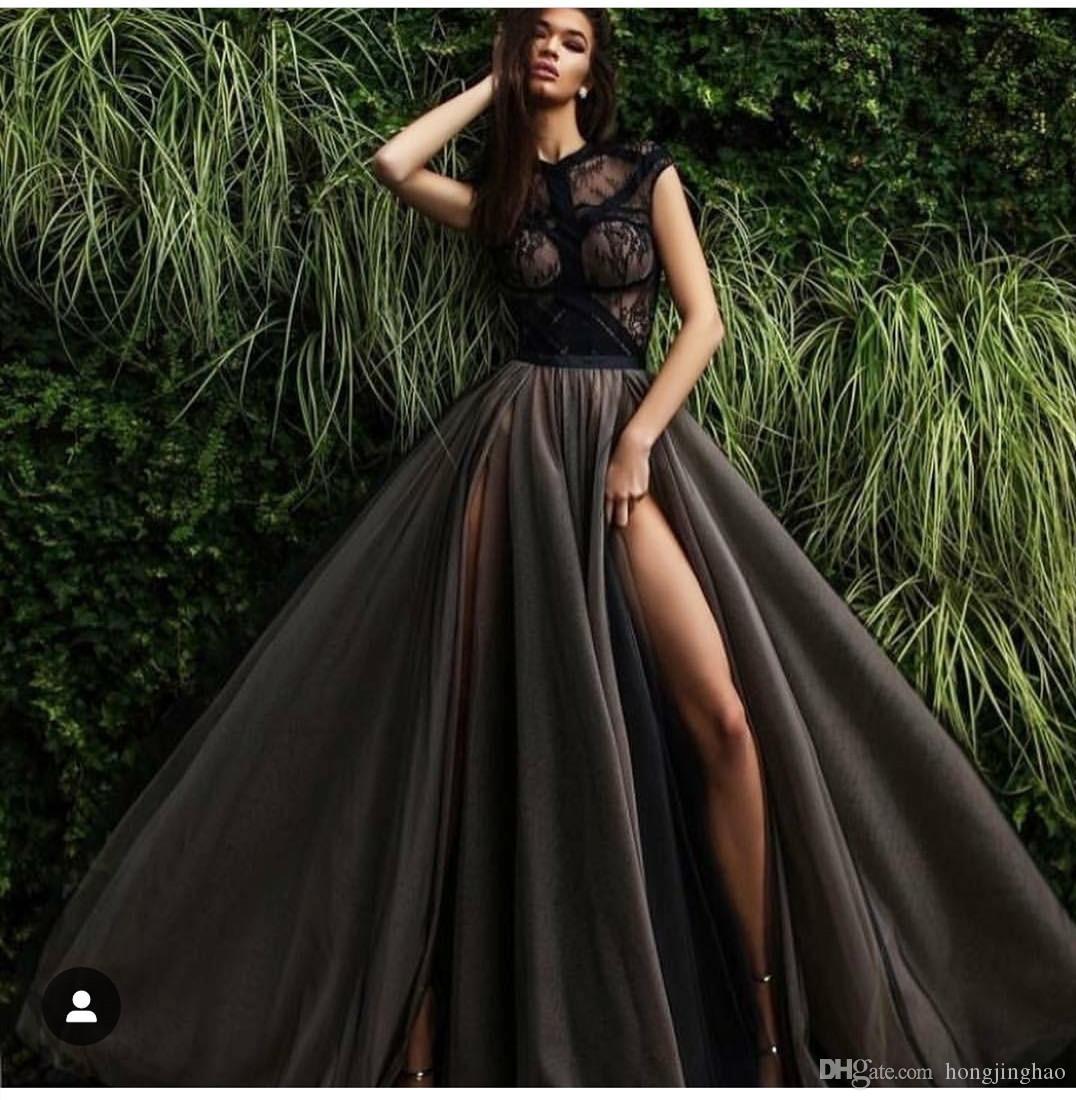 Сплит Черное Вечернее Платье с Аппликацией Sweep Поезд На Заказ A-Line Jewel Специальное Вечернее Вечернее Платье