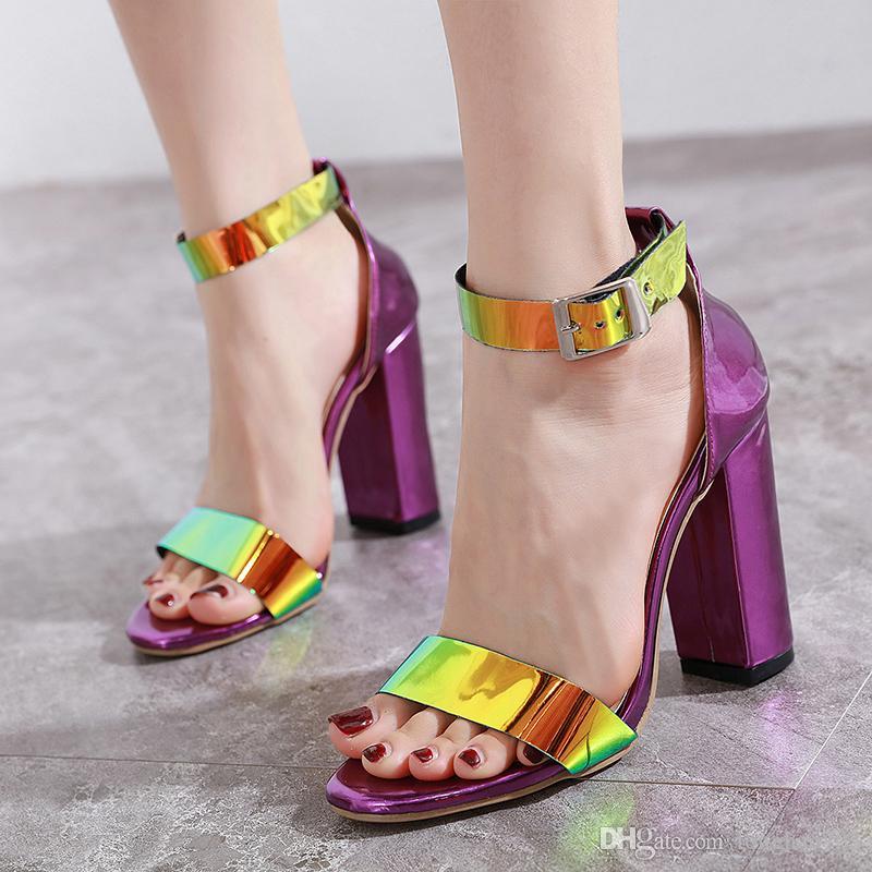ladies sandals suede look womens block heel open toe shoes ankle strap summer