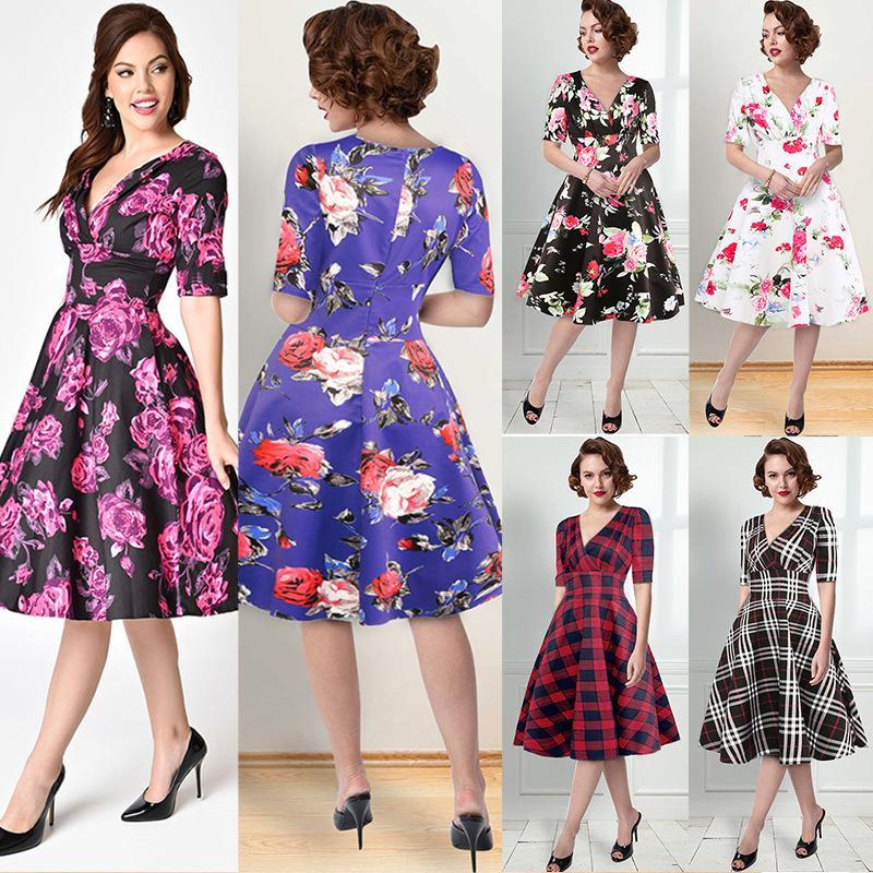 Fairy2019 Baskı Suit-elbise Elbise Çapraz Kısa Kollu V Kurşun Etek Sarkaç Olacak