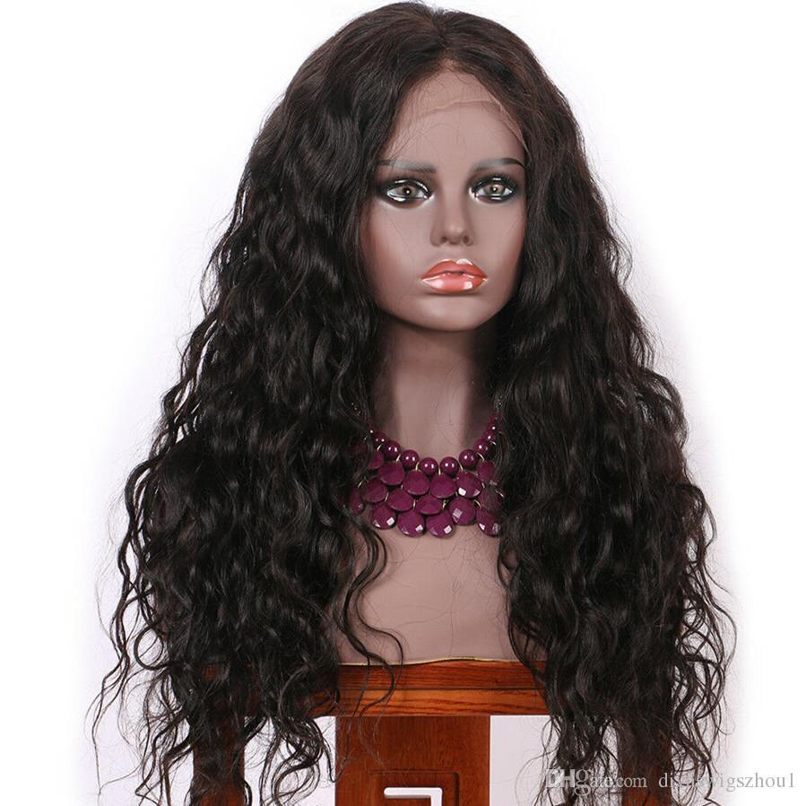 13x6 Pelucas delanteras del cordón Cabello humano Onda floja Pluma pre-plucked con el pelo del bebé 130% densidad para las mujeres negras Color natural 16 pulgadas