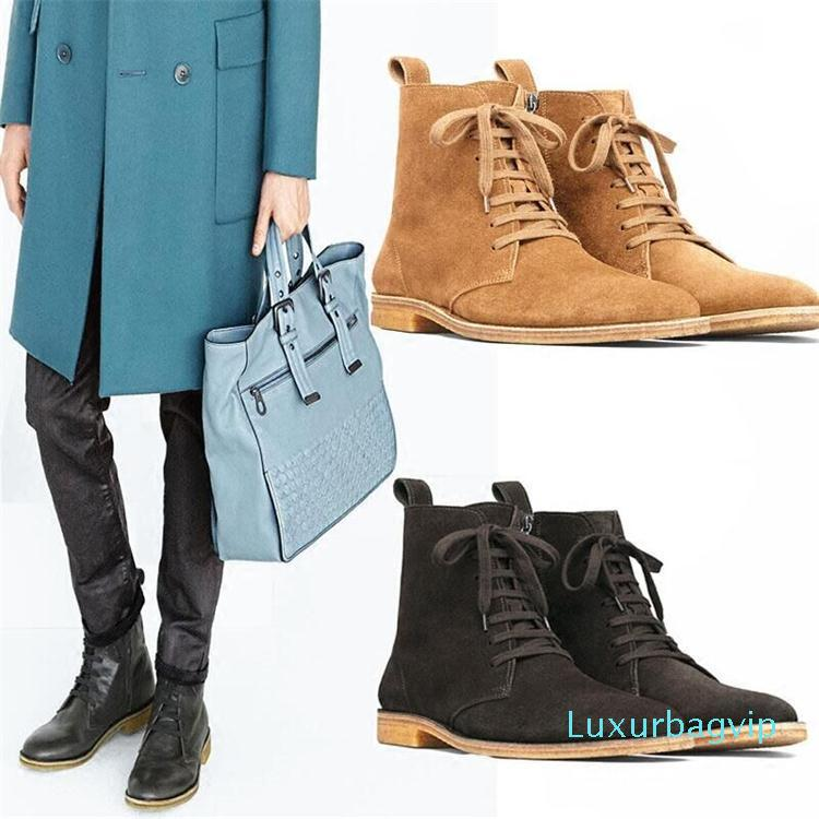 Vintage Männer Veloursleder West Ankle Boots Men Pointy Toe Stiefel handgemachte Schuhe Cowboy Botas 12 # 20 / 20D50