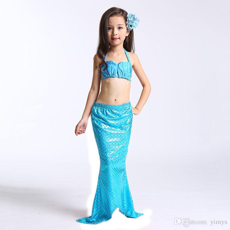 3PCS Little Mermaid Tails for Swimming Costume Mermaid Tail Cosplay Girls Swimsuit Kids Children Ruffles Beach Swimwear Clothes