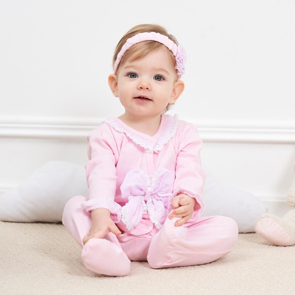 2 Piece of Baby Infant Kids Girl Lace Romper Set Ruffled Sleeveless Jumpsuit OneSize with Headband