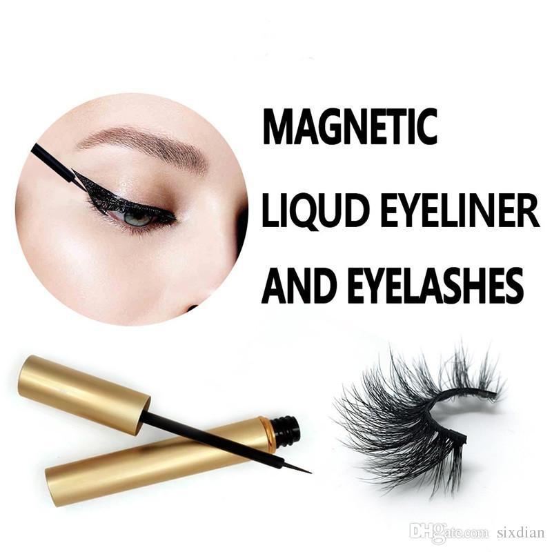 Neue Magnetische Flüssige Eyeliner 3D Nerz Wimpern Magnetische Wimpern Wimpernverlängerung Nerz Wimpern Makeup Eyeliner + magnetische Wimpern