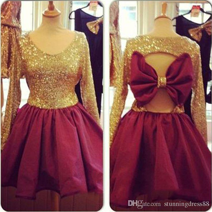 Sparkly Gold Sequined Short Party Prom Homecoming Dresses Real Photo Burgundy Jewel Neck Long Sleeves Bows Graduation Cocktail dress Cheap