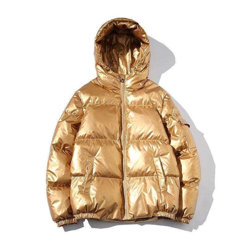 2019 Abrigo de invierno brillante capa del invierno del Mens abajo de las chaquetas con capucha Pan Juvenil Parkas caliente grueso rompevientos moda Streetwear más el tamaño 5XL