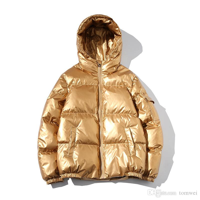 2019 Casaco de inverno brilhante Brasão Mens Inverno jaquetas com capuz Pão Juventude Parkas Grosso Quente Windbreaker Moda Streetwear Plus Size 5XL