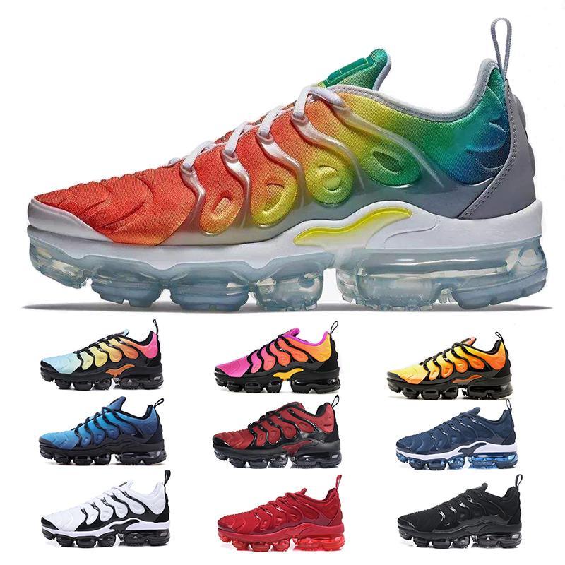Спортивные кроссовки новые TN кроссовки мужские дышащие кроссовки Бегун человек тренеры теннис Радуга плюс Женская обувь