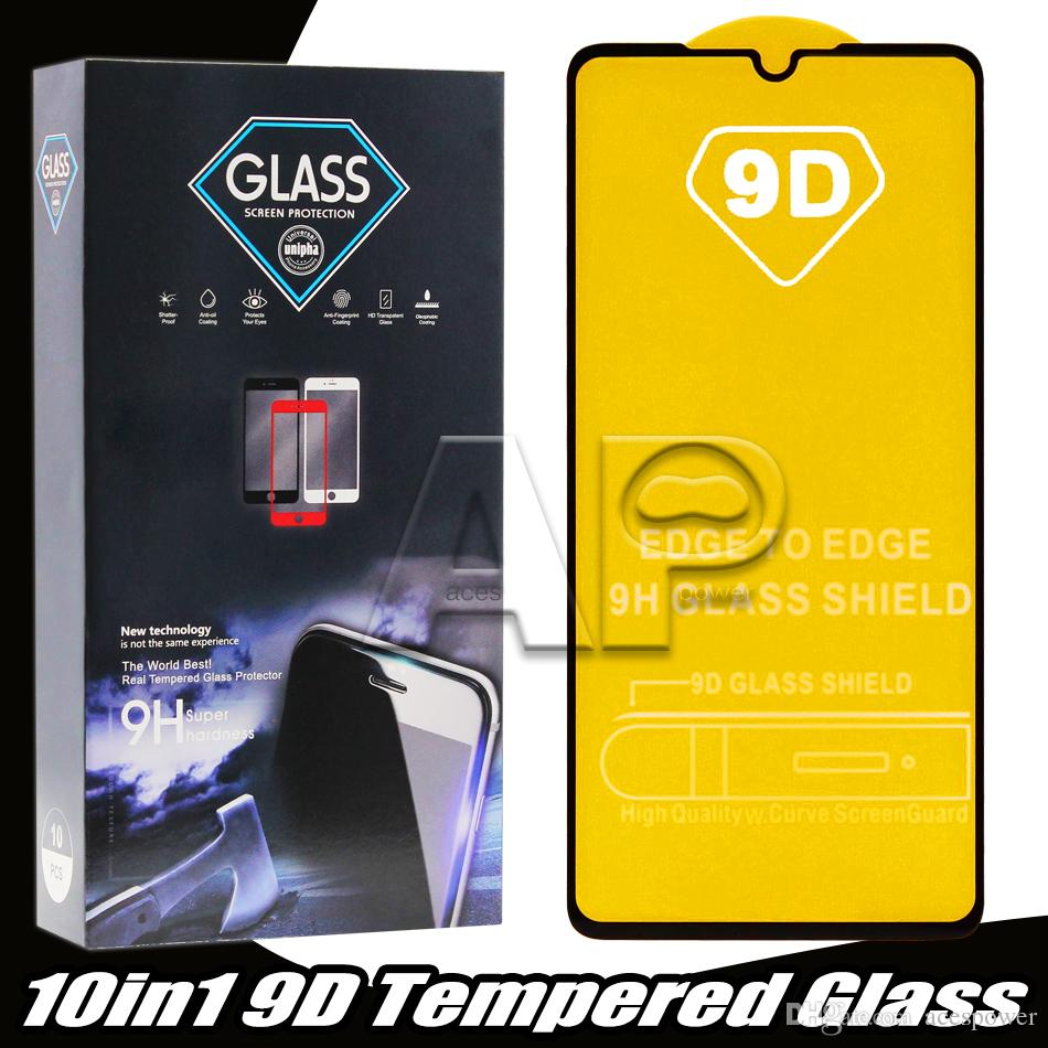 9d vidro temperado para iPhone 12 mini 11 pro max xr xs borda de cobertura completa para protetor de tela de borda com pacote de varejo