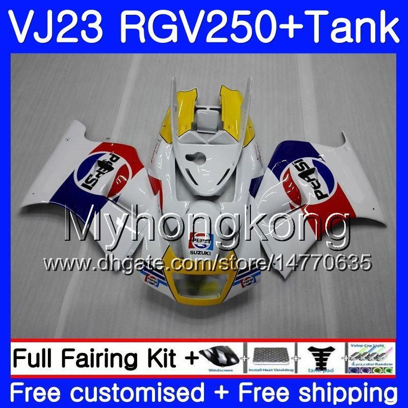 Corpo + serbatoio per SUZUKI VJ21 RGV250 88 94 95 96 97 98 309HM.6 RGV-250 VJ23 VJ 22 RGV 250 stock bianco caldo 1988 1994 1995 1996 1997 1998 Carenatura