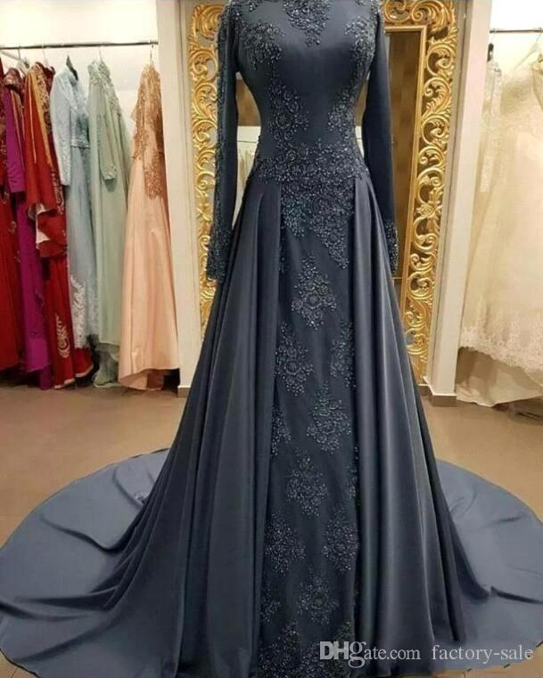 Modest Dark Gray Long Sleeve Evening Dresses with Sweep Train Lace Appliques Prom Party Gown Formal Wear BC2001
