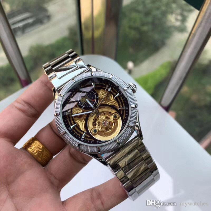 Dropshipping di qualità superiore 42 millimetri Uomini Orologi Full Acciaio banda automatico in oro orologio da polso Moon Phase Per mens Water Clock Resistente