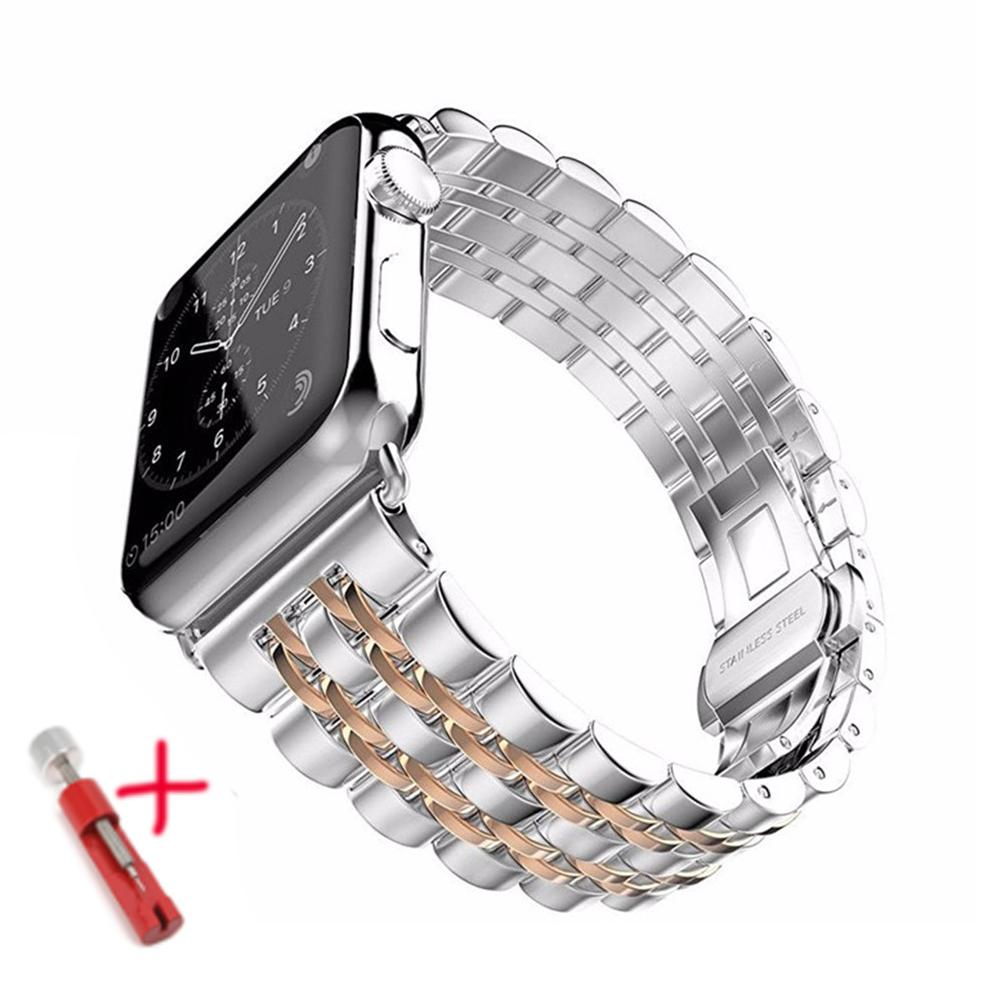 스트랩 애플 시계 밴드 44mm의 40mm 사과 시계 5 4 3 iwatch 밴드 42mm / 38mm의 코레아 스테인레스 스틸 pulseira 나비 손목 시계