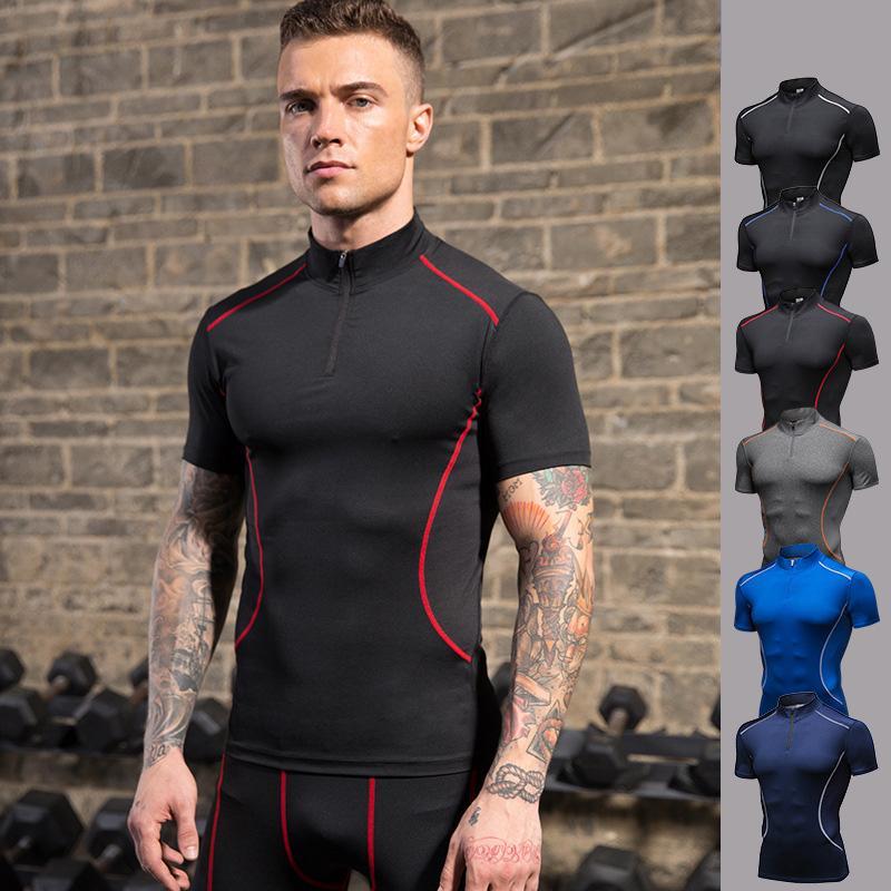 Collar del soporte de Deportes de secado rápido estiramiento camiseta de los hombres de los hombres Fitness Deportivo de manga corta T-shirts Casual Running Ropa de la manga