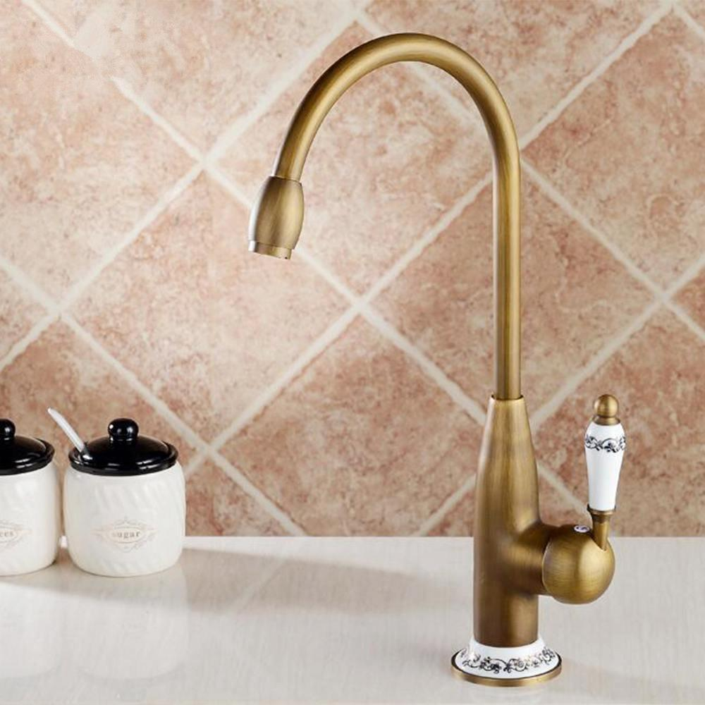 Kitchen Faucets Antique Bronze Faucet for Kitchen Mixer Tap With Ceramic Crane Cold And Hot Kitchen Sink Tap Water Mixers