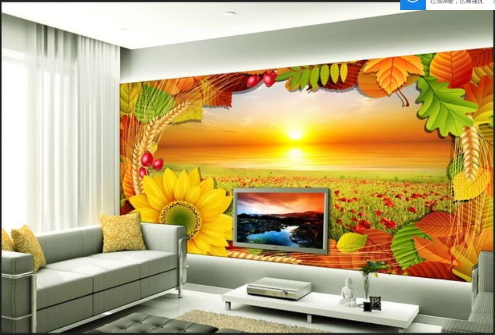 3d интерьер пользовательских фреска Красивый шаблон восход цветок море ТВ фоне стены декоративной живописи наклейки домашнего декора стены искусства картины