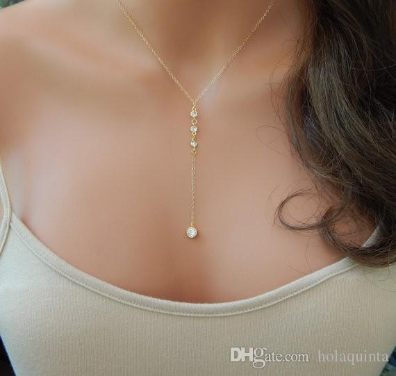 Золотое ожерелье с лариатом в форме циркония, золотое ожерелье Y, свадебное ожерелье из лариата
