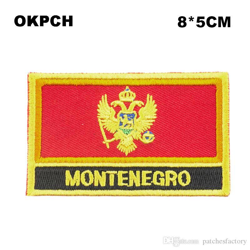 Ücretsiz Kargo 8 * 5 cm Karadağ Şekli Meksika Bayrağı Nakış Demir on Patch PT0004-R