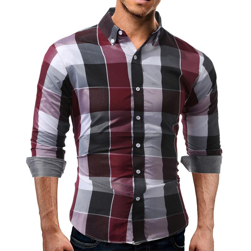 New Men Shirt Fashion Slim Shirts Men's Shirt Long Sleeve Shirt Cotton Blend Red Blue Color Youth Plaid Shirts M-3XL Free Shipping