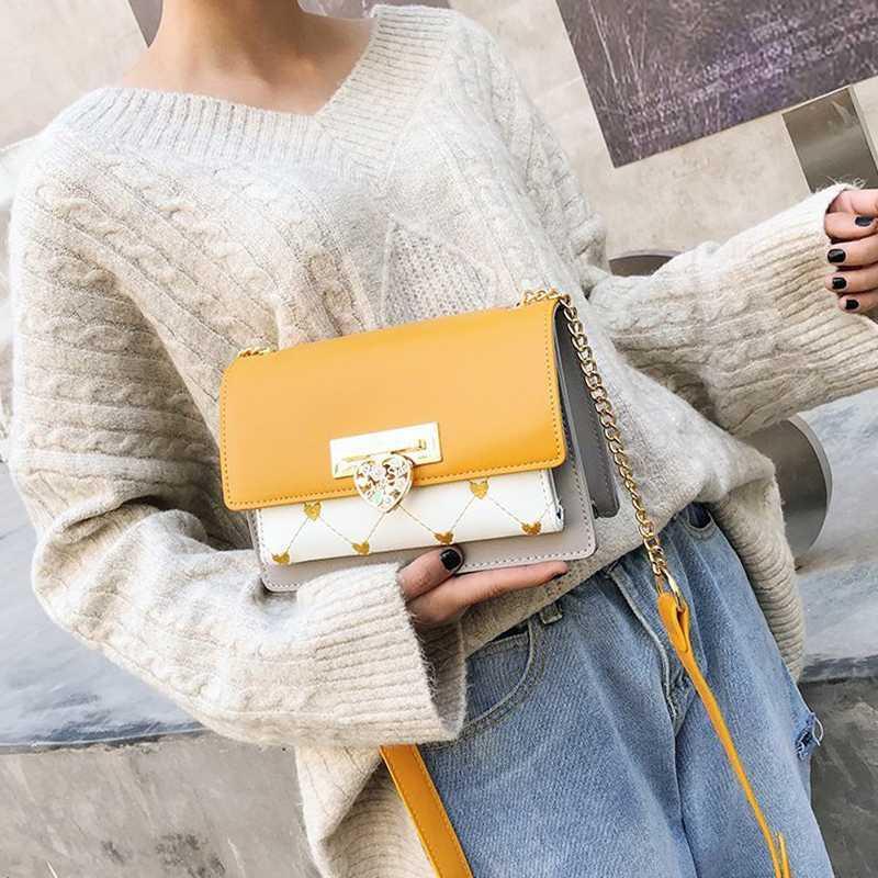 Kadınlar 2020 için Çantalar Kadın Çanta Moda Bayan Aşk Kalp Kilidi Omuz Çantası Moda PU Deri Crossbody Çanta