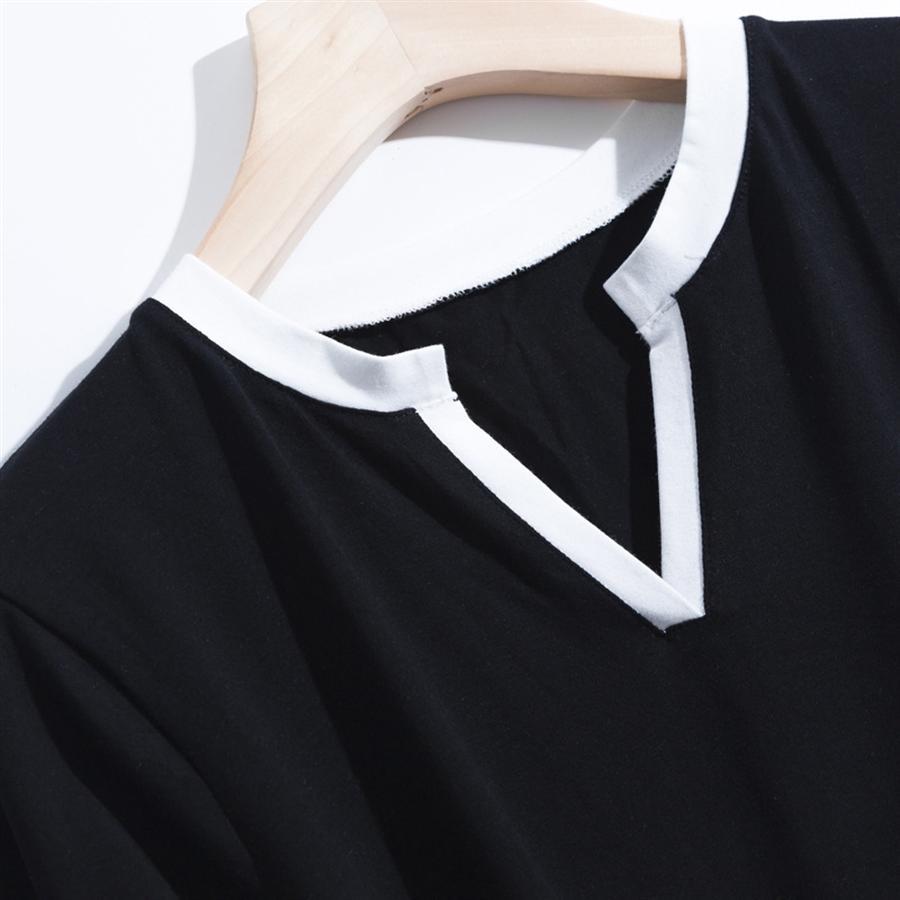 2020 контрастного цвета пуловер V-образным вырезом с коротким рукавом тонкий хлопок сплошной цвет свитер надеть футболку Женской