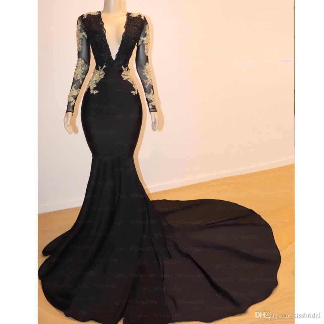 Black Prom Dresses 2019 Sexy Mermaid V-Neck Long Sleeve Lace Formal Evening Gowns Beaded Gold Appliques Red Carpet Dress Cocktail Party Gown