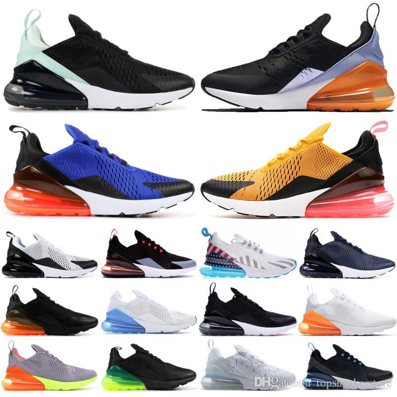 Nike air max 270 Sapatos Masculinos da meia-noite da marinha Metal líquido de petróleo cinza Mulheres Sneakers Elemental Luz Ouro Creme violeta persa Correndo Trainers