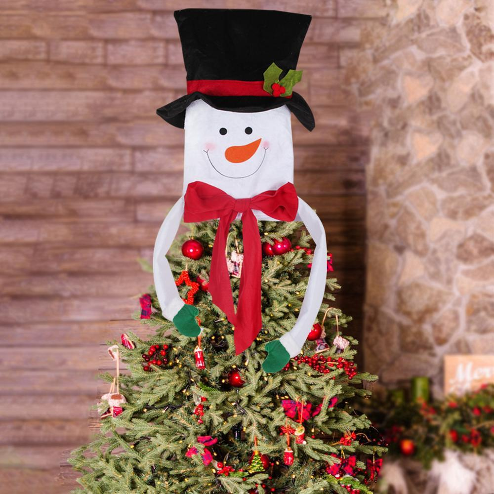 HUIRAN Christmas Snowman Red Scarf Tree Topper Ornaments Merry Christmas Tree Decorations For Home 2019 Xmas Decor New Year Christmas Outdoor