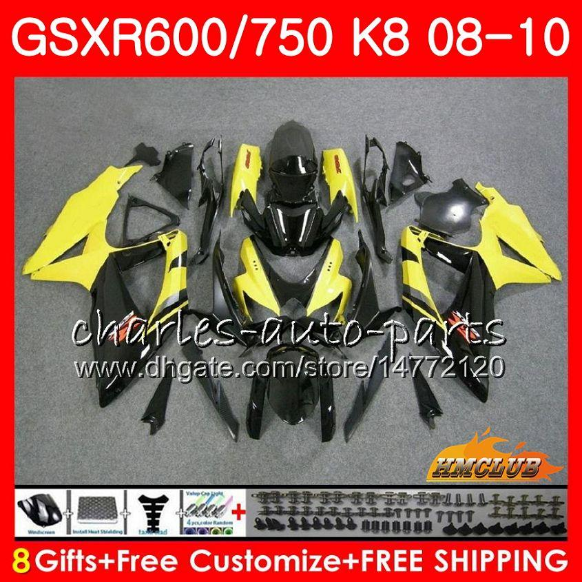 Bodys для Suzuki GSXR 600 750 GSX R750 R600 GSXR60000 08 09 10 9HC.47 GSX-R750 Желтый черный Hot GSXR-600 K8 GSXR750 2008 2009 2011