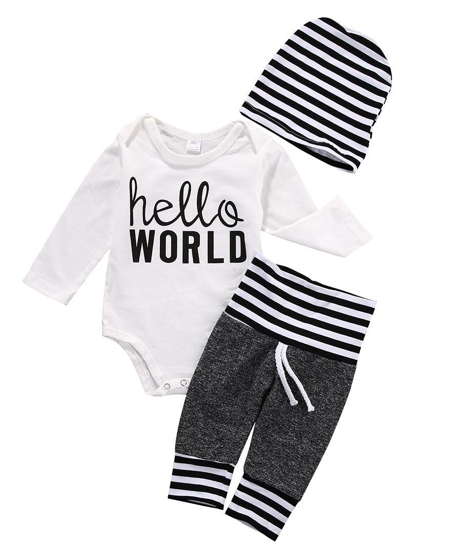 outono e primavera bebê conjuntos de roupas roupas de bebê menino definir manga longa romper + calça + chapéu
